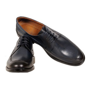 Men's Classic Laced Leather Shoes 19338 Navy Blue