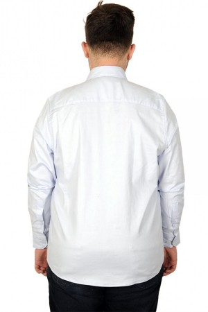 Large Size Men s Classic Shirt with Lycra-20351 Navy