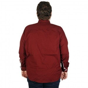 Big-Tall Men s Long Sleeve Shirt Embroidered 19303 Burgundy