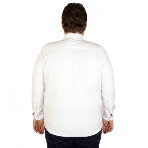 Big-Tall Men s Long Sleeve Shirt Embroidered 19303 White