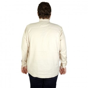 Big-Tall Men s Long Sleeve Pocketless Shirt 19305 Beige