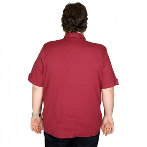 Lycra Linen Shirt Short Sleeve Pocket 19389 Burgundy