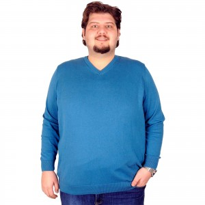 Big-Tall Men s V Neck Classic Cotton Knitwear 18250 Petrol Green