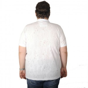 Big Size Men's T-Shirt Polo Leaf Desing 19429 White