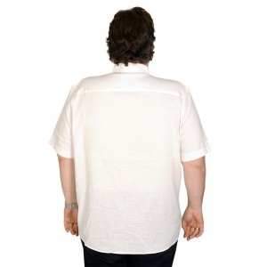 Lycra Linen Shirt Short Sleeve Pocket 19389 White