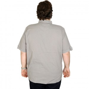 Lycra Linen Shirt Short Sleeve Pocket 19389 Grey