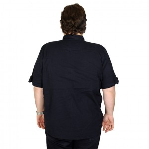Lycra Linen Shirt Short Sleeve Pocket 19389 Navy Blue