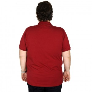 Big Size Men's T-Shirt Polo Embroidered Classic 19555-BA Burgundy