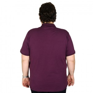 Big Size Men's T-Shirt Polo Embroidered Classic 19555-BA Plum