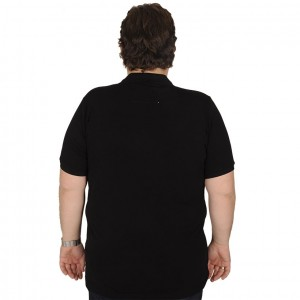 Big Size Men's T-Shirt Polo Embroidered Classic 19555-BA Black