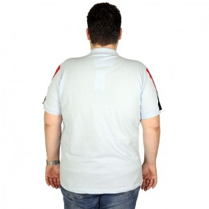 Large Size Men T-Shirt Polo All The Game 19431 Ice Blue