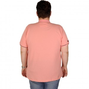 Large Size Men T-Shirt Polo 19433 Salmon