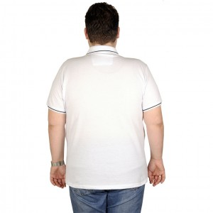 Large Size Men T-Shirt Polo 19416 White