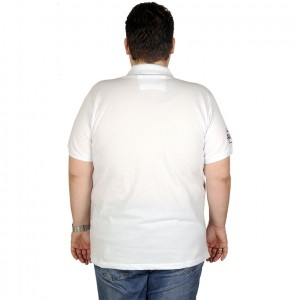 Large Size Men T-Shirt Polo Rhode İsland 19412 White