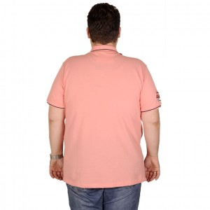 Large Size Men T-Shirt Polo Rhode İsland 19412 Salmon