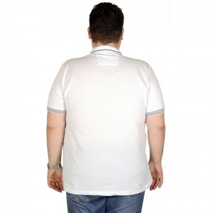 Big Size Mens T-Shirt Polo True King 19417 White